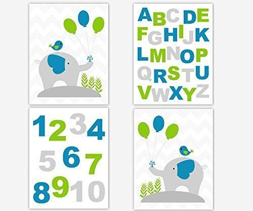 Baby Boy Nursery Art Elephants Blue Green Gray Chevron Alphabet ABC Numbers Playroom Baby Nursery Decor SET OF 4 UNFRAMED PRINTS. Baby Boy Nursery Art Elephants Blue Green Gray Chevron Alphabet ABC Numbers Playroom Baby Nursery Decor SET OF 4 UNFRAMED PRINTS Frames are Shown for Display Purposes Only #458.