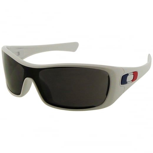"""Oakley White """"Antix"""" Wraparound Sunglasses With Grey Plutonite Lenses. Model Number: 24 211. The perfect blend of style and design, the Oakley """"Antix"""" sunglasses boast an impressive array of performance technology."""