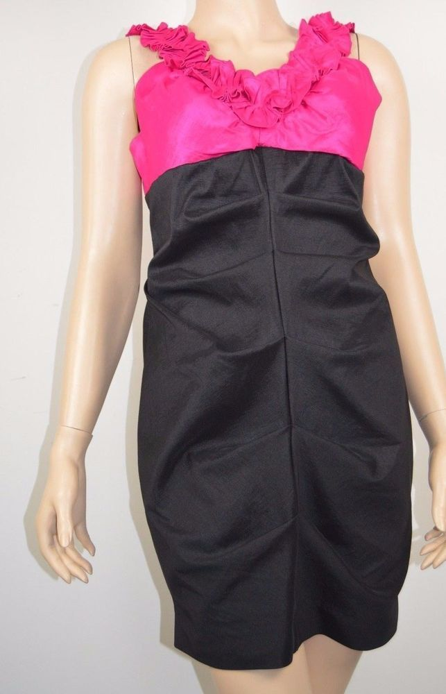 Sally USA Prom Formal Dress XS to S sleevless sheath black pink pleated straps  #SallyUSA #SheathDress #PromFormalParty