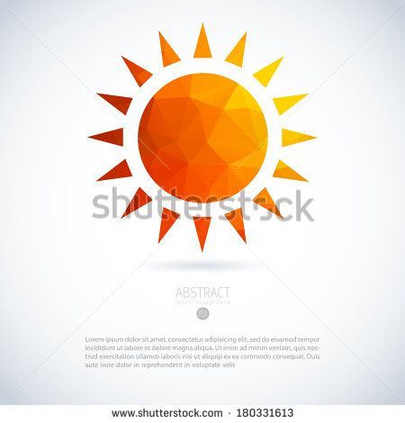 Summer sun of triangles background pattern. Label design template.