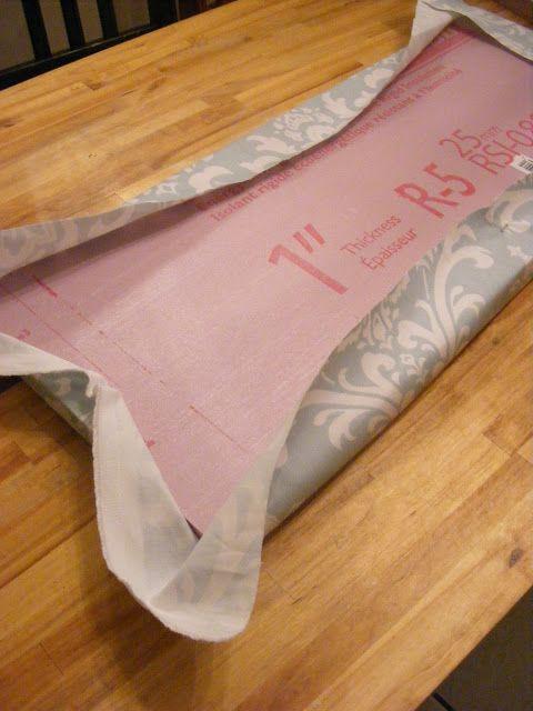 How to wrap fabric around Styrofoam for DIY wall art