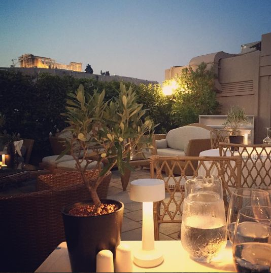 Gaze into the night sky as you dine with your loved one in our #rooftop #restaurant! Enjoy a romantic #dinner with this stunning view of #Acropolis! Thank you @ __neung__  for sharing