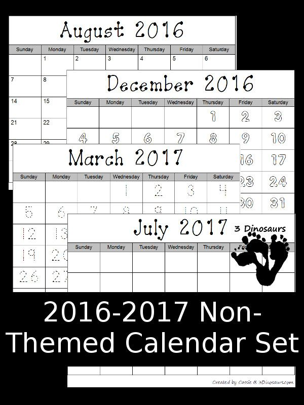 Free 2016-2017 Blank Calendar Set: August 2016 - July 2017 - 4 different types fill in, color, trace and blank - 3Dinosaurs.com