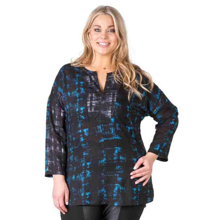 PRE-ORDER - Brushstroke Print Hi-Low Tunic (BLUE/BLACK CHECK) $89.95 http://www.curvyclothing.com.au/index.php?route=product/product&path=95_104&product_id=6747