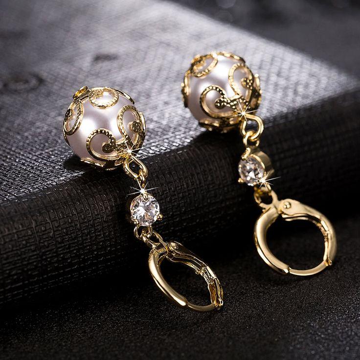 Cheap Fashion Charm Copper Zircon Rhinestone Crystal Earring Ear Drop Online gold   Tomtop  #women #men #fashion #jewelry