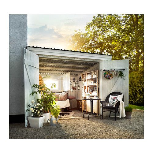 outdoor living space idea from IKEA IDEABOX has something similar Great for pop-up (seasonal) shop, outdoor (no phones?) atelier, etc.