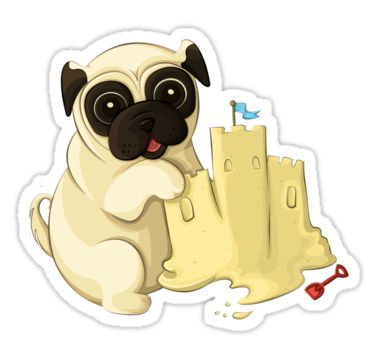 Beach pug stickers by anmgoug on redbubble pug beach sticker