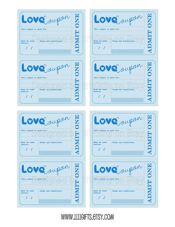 Printable Love Coupons Romantic Gift Idea for by BottleCapGuru