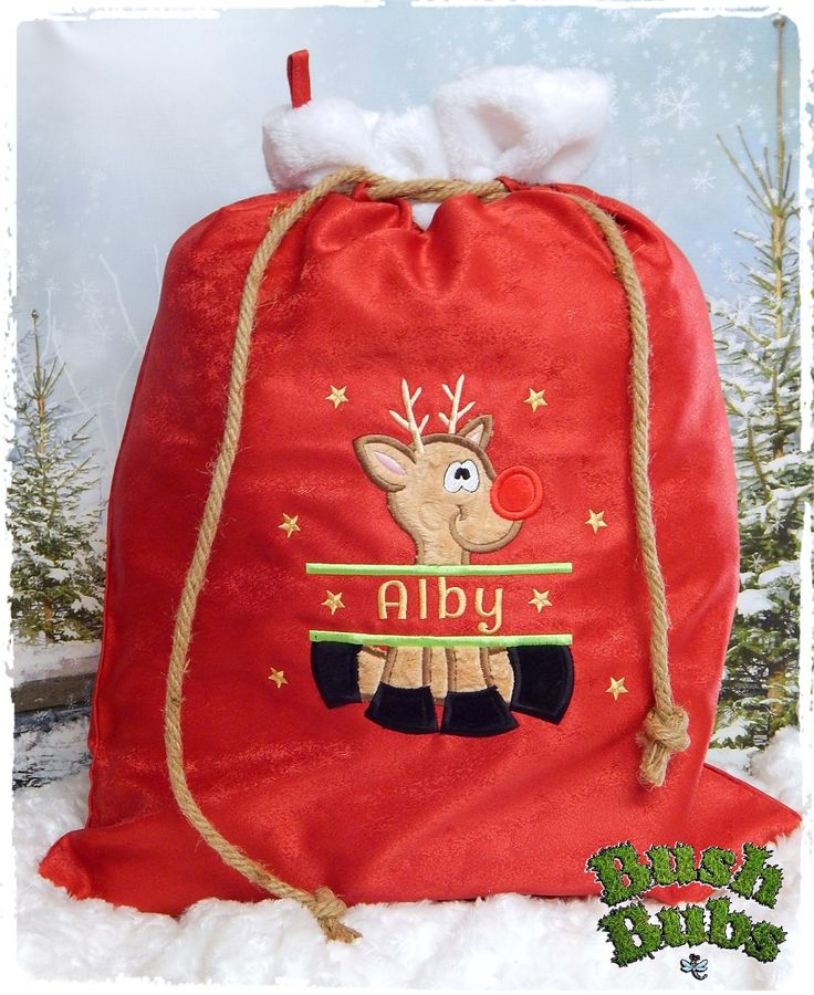 Santa sacks  This can be purchased at https://www.facebook.com/BushBubsclothingandEmbroidery/?pnref=lhc