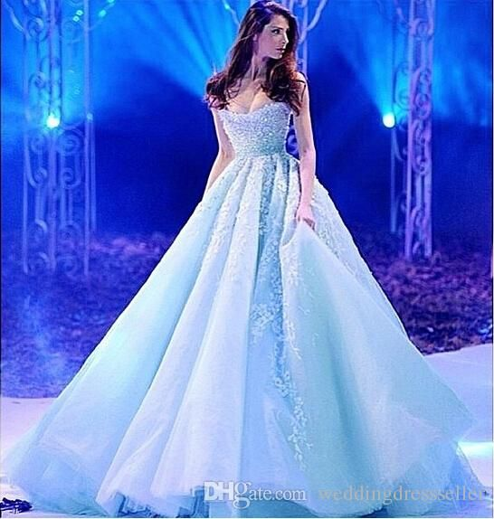 2016 Ice Blue Sweetheart Cinderella Prom Dresses A Line Appliques Prom Dresses Long Princess Prom Dresses Sale Prom Dresses Sell My Prom Dress From Weddingdressseller, $129.65| Dhgate.Com