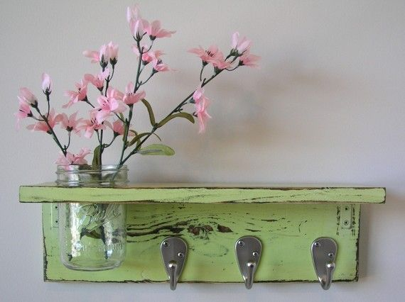 wood shelf with built in flower vase- Just bought a shelf that I could do this with :)