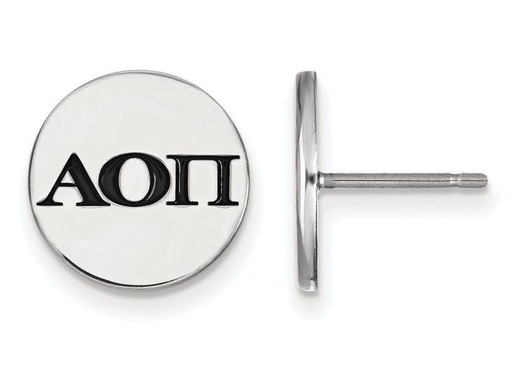 LogoArt Sterling Silver Alpha Omicron Pi Enameled Post Earrings