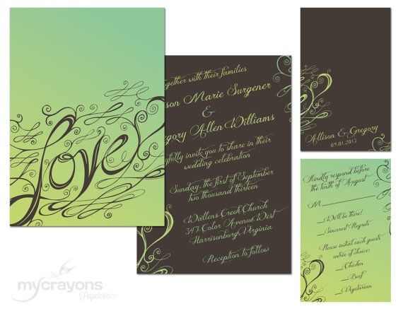 DIY Printable Flat Green and Brown Love Calligraphy Custom Wedding Invitation and Enclosure Card by MyCrayonsPapeterie