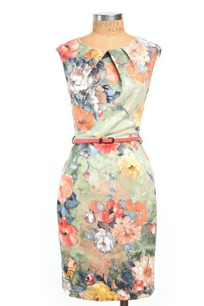Monet Watercolor Dress #25-75 #blue #blush #cocktail #coral #coral-belt #dress #floral #green #l #m #peach #pink #pleat #pockets #s #women #yellow