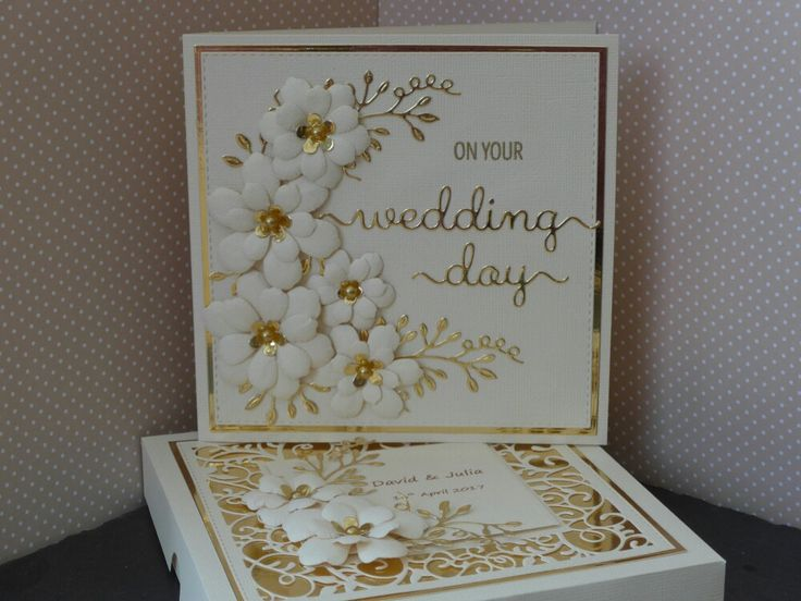 Boxed Wedding Card using Creative Expression Sue Wilson Swirly Vine & Sweetheart flower dies. Gold and cream card using Clearly Besotted Wedding Day die.