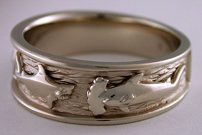 Shark wedding band. Too awesome!