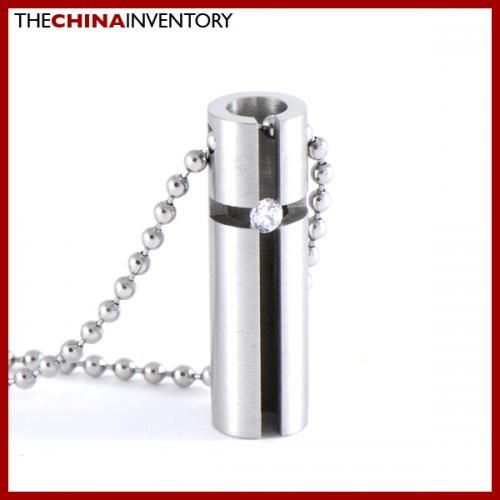 STAINLESS STEEL CROSS TUBE PENDANT NECKLACE P0604