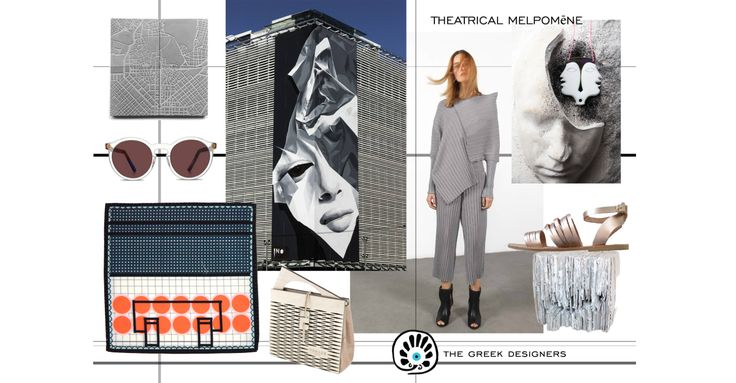 THEATRICAL MELPOMENE | MOODBOARD | The moodboard draws inspiration from Theatrical Melpomene of Classical Athens. Melpomene, the Muse of Tragedy, is often represented with a tragic mask and wearing the cothurnus, buskins traditionally worn by tragic actors. Read more >> https://thegreekdesigners.com/2016/09/13/theatrical-melpomene-moodboard/