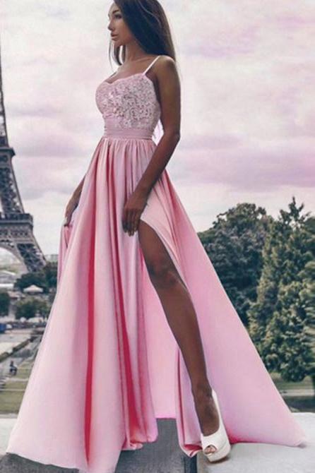 01ac51c0d A Line Spaghetti Straps High Slit Sweetheart Chiffon Lace Appliques Prom  Dresses uk PW310 #spaghettistraps #highslit #promdresseslong #promdresses