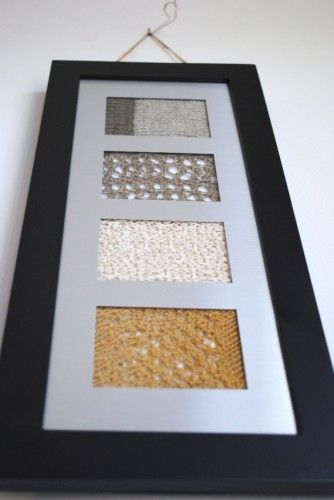 Great ideas on what to do with all those knitting and crochet gauge swatches. Great decor idea for a craft room!