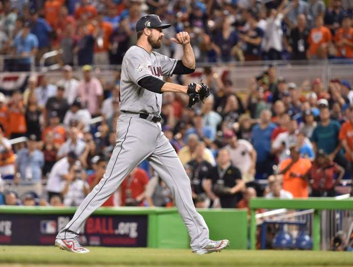 Best of the 2017 MLB All-Star Game  -  July 11, 2017:     Andrew Miller celebrates after striking out Cody Bellinger to end the game and earn the save.