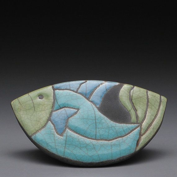 Fish ceramic raku fired clay  rocking