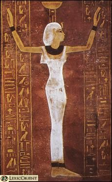 """(Nephthys) Professional mourners were known as the """"Hawks of Nephthys"""", in recognition of her role as a goddess of mourning. It was also believed that as a goddess of the air, Nephthys was the guardian of Hapi, protector of the lungs. She was also one of the four goddesses who guarded the shrine buried with the Pharaoh. Yet, she was also said to be the source of both rain and the Nile river and was thought to protect women in childbirth. Thus she was closely associated with both death and…"""