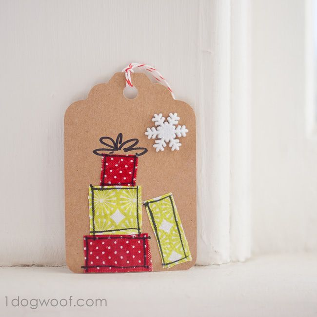 Homemade Gift Tags Day 11: Scrap Fabric Gift Tags - One Dog Woof