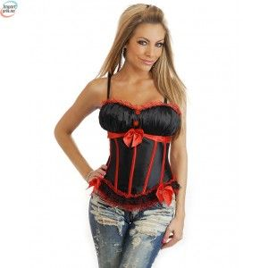 Peasant Burlesque Corset Black