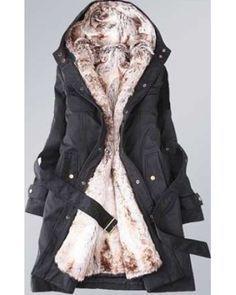 Ladies Parka Style Fur Hooded Winter Coat - Black