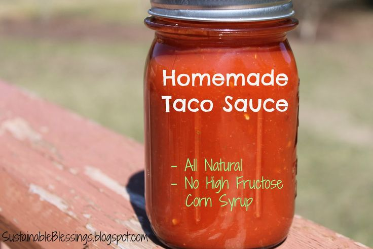 Taco Sauce: 13.5 c pureed tomatoes or 111oz diced tomatoes, 1/4 c minced onion, 1 3/4 c vinegar, 1/4 c garlic powder or 1/8 cup minced garlic, 2 Tbsp salt, 2 Tbsp paprika, 2 Tbsp sugar, 1 Tbsp crushed red pepper, 6 hcopped jalapenos, tomato paste (optional for thickness)