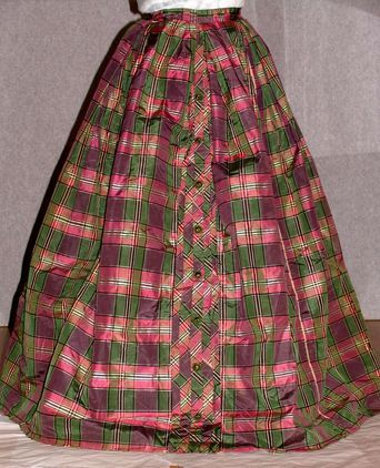 Aust.Dress Register - Silk taffeta tartan skirt made by Sarah Thomas en route to Australia from England in 1838. Sarah and her husband settled in Log Bridge Farm, Albion Park NSW and had ten children. (Tongarra Museum)