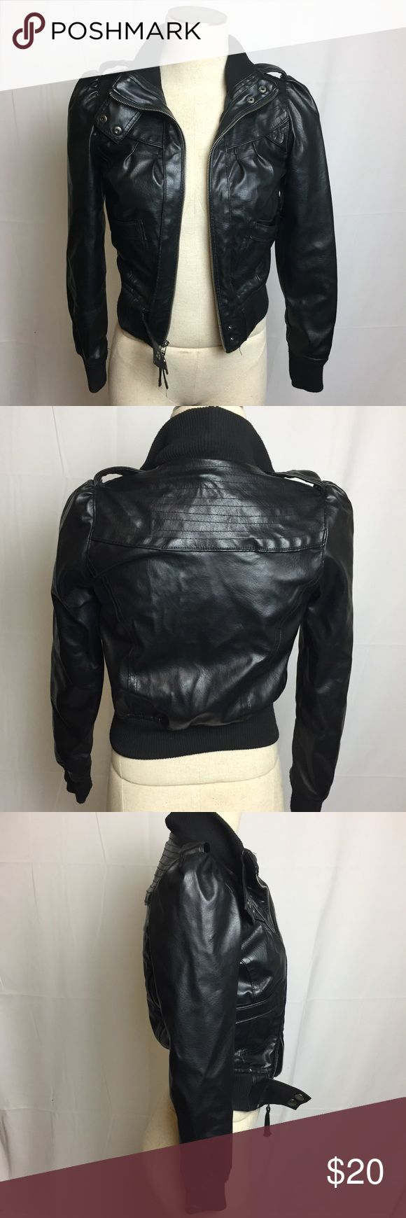 Miley Cyrus x Max Azria bomber jacket Miley Cyrus Max Azria Women's Faux Leather bomber Jacket see pictures for details and condition SIZE XS Miley Cyrus & Max Azria Jackets & Coats