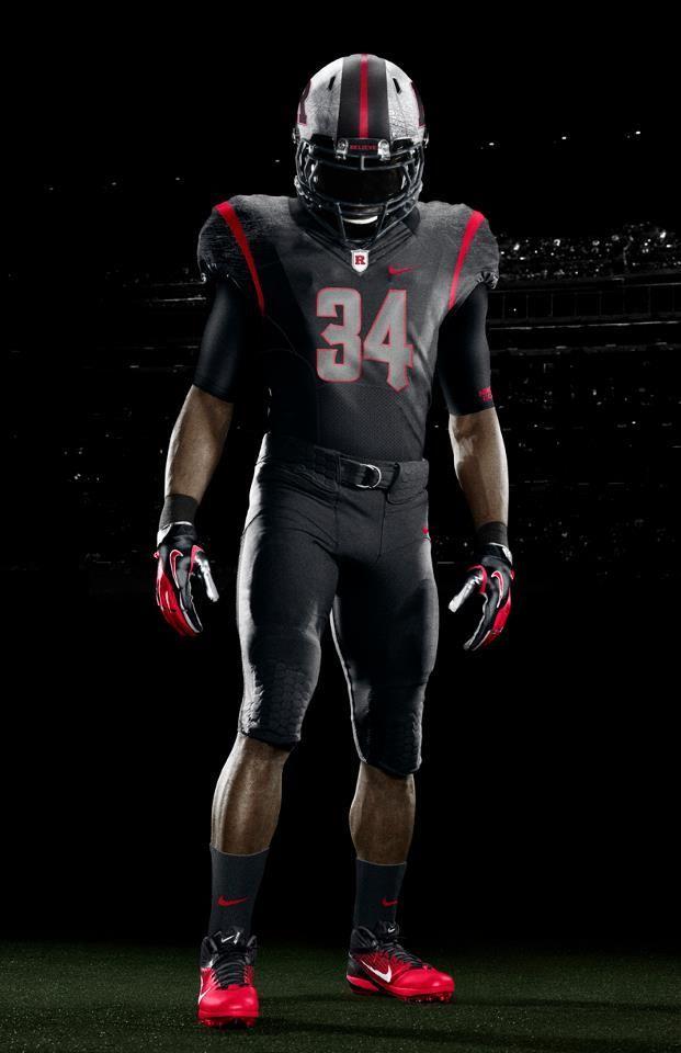Rutgers Nike Black On Black Front View Ncis Football Uniforms College Football Uniforms Sports Uniforms