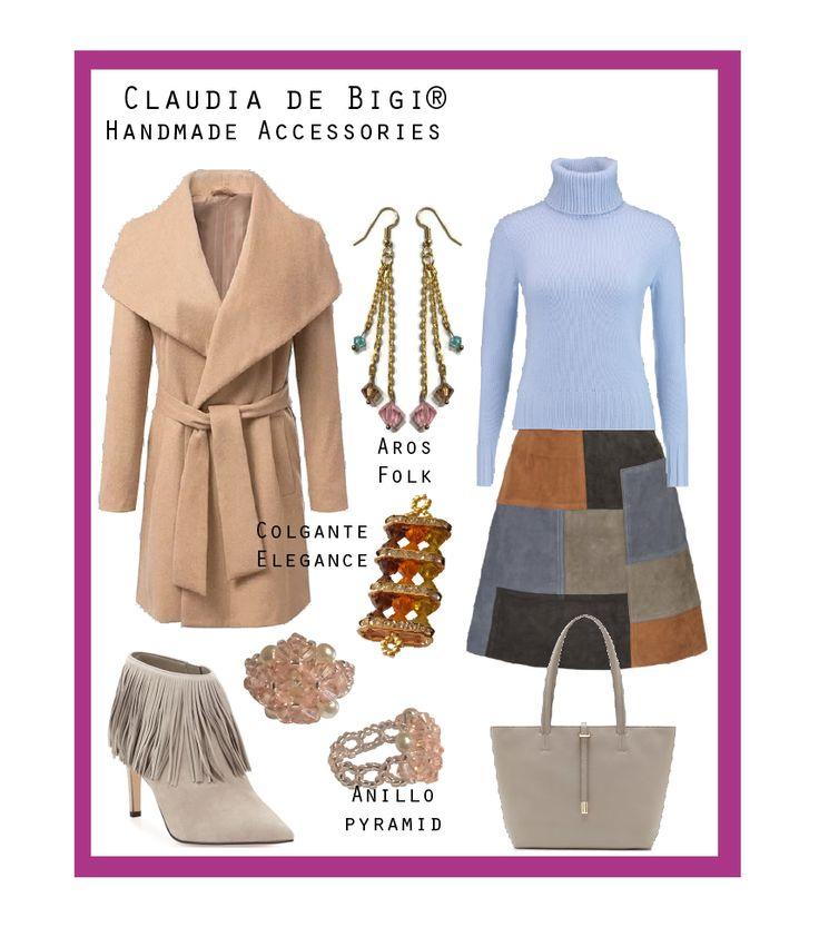 Sacón, sweater cuello alto, falda en patchwork, botines, cartera tote, aros, colgante y anillo con cristales Swarovski. Otoño 2016
