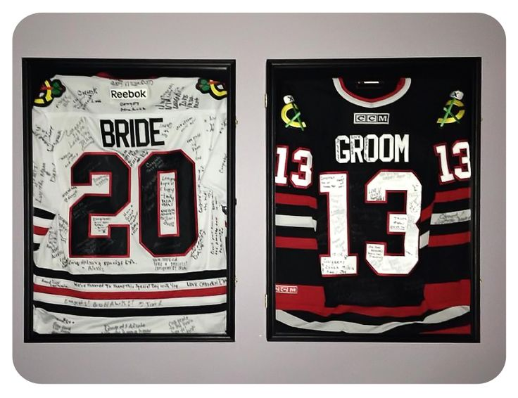 Have your wedding guests sign their names on custom made Chicago Blackhawks jerseys. Have the numbers represent the year you were married.