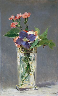 Pinks and Clematis in a Crystal Vase, c.1882  Artist: Edouard Manet  Museo D`Orsay