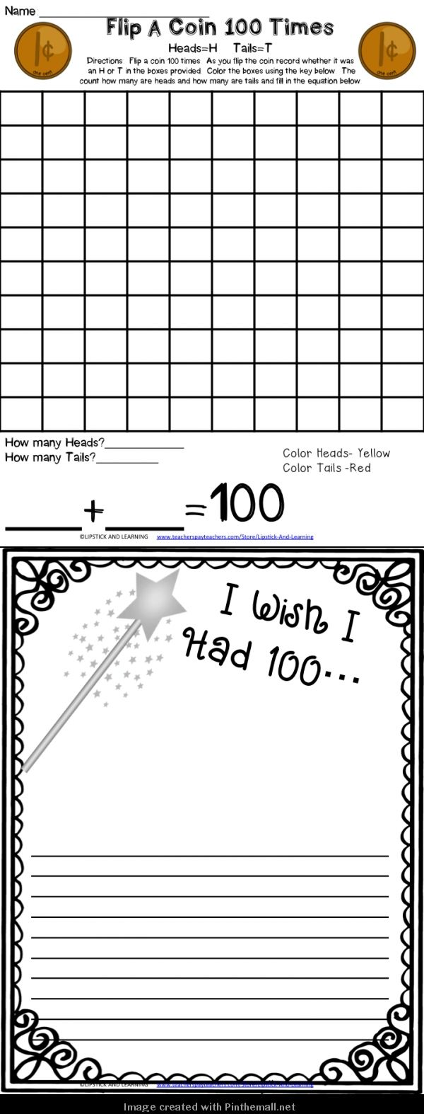 FREEBIE for the 100th Day!  flip a coin 100 times
