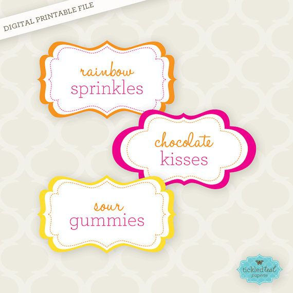 Custom Color PRINTABLE Candy Labels by TickledTealPaperie, $650
