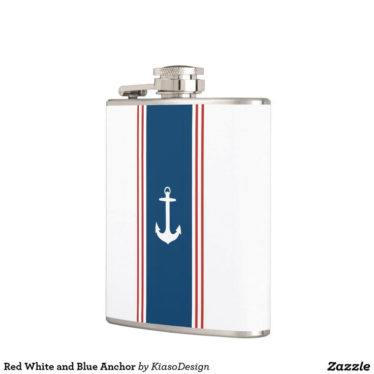 Red White and Blue Anchor Hip Flask