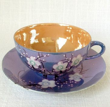 Vintage Cherry Blossom Teacup and Saucer by Emily Lynch Vintage - asian - cups and glassware - Etsy