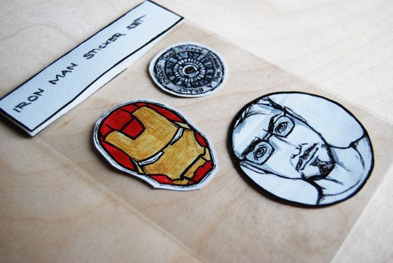 Iron Man inspired Sticker Set  Hand-drawn by WAIQ on Etsy