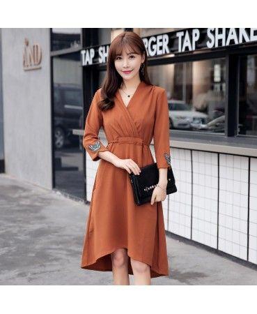 2017 Korean Long Waisted Irregular Midi Dress Korean Fashion
