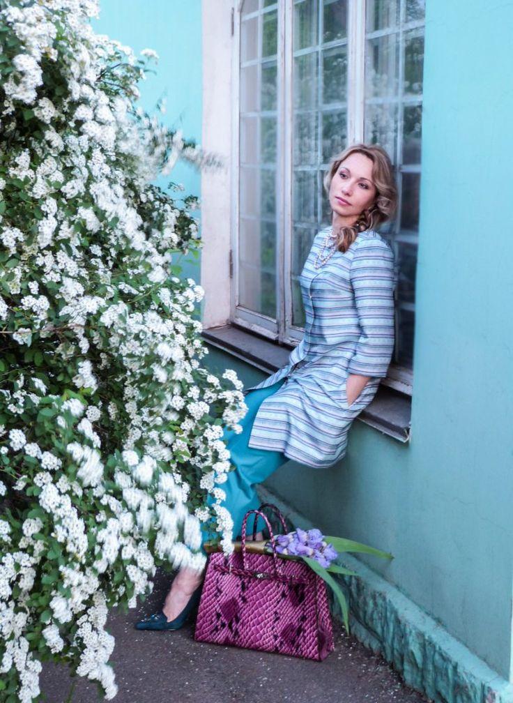 Turquoise, Teal, Cyan, color strip coat, spring coat, Nine West heels