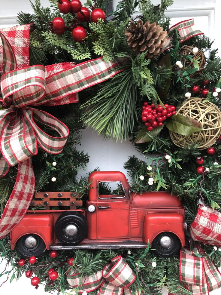 Christmas Wreath Red Truck Christmas Wreath Rustic