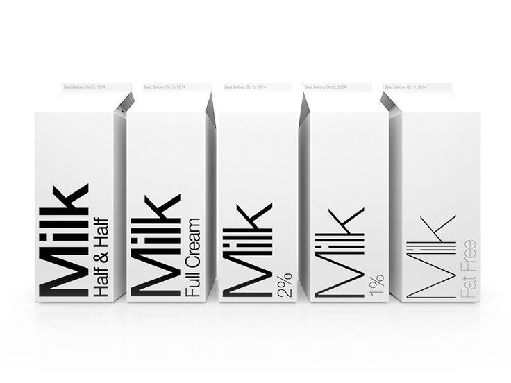 Minimalist Typographic Milk Cartons by Robert Padbury