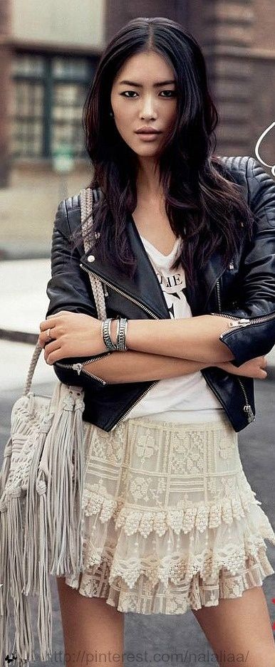 Stitch fix-- I love combining leather and lace. I don't want to be too edgy but I like combining leather with softer looks to create a nice balance.