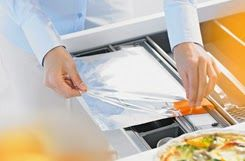 Monarch Kitchen and Bath Centre- tin foil dispenser! Wow, you don't have to worry about those boxes of foil any more this handy kitchen tool keeps the foil in it's place and has a safe cutter to get the right size of foil that you are looking for!