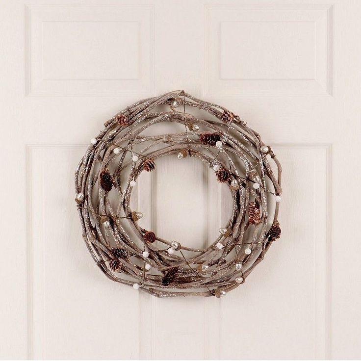 "#Christmas #Door #Wreath 18"" #Unlit #Champagne #Glitter Grapevine Pine #House #Decor"