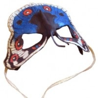 "A paper mache butterfly half-mask from the book ""How to Make Masks! by Jonni Good."